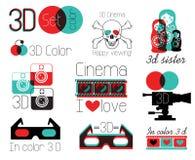 Fastställda symboler för vektor 3 D-bioexponeringsglas Royaltyfri Bild
