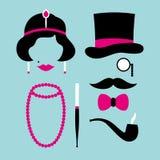 Fastställda symboler kvinna och rosa mantjugotal och turkos royaltyfri illustrationer