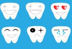 Fastställda tandsinnesrörelser för tecknad film Arkivfoto