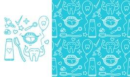 Fastställda tandvårdsymboler för vektor Sömlös modell och tecken som isoleras på modern färgbakgrund Royaltyfri Bild