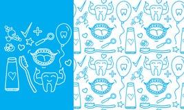 Fastställda tandvårdsymboler för vektor Sömlös modell och tecken som isoleras på vit bakgrund Arkivbild