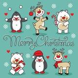 Fastställda tecknad filmdjur för glad jul med text Royaltyfri Fotografi