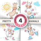Fastställda tecknad filmdjur ko, hjort, tjur, giraff royaltyfri illustrationer