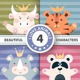 Fastställda tecknad filmtecken - tjur, panda, tiger, noshörning royaltyfri illustrationer
