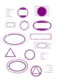 Fastställda tomma rubber stämplar royaltyfri illustrationer