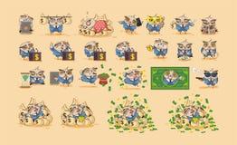 Fastställda ugglor i emoticons för klistermärkear för affärsdräkt stock illustrationer