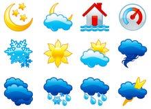 Fastställda vädersymboler Royaltyfri Bild