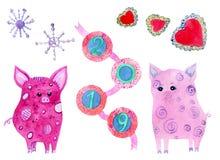 Fastställda vattenfärgbeståndsdelar med svin, snöflingor, 2019 och hjärtor vektor illustrationer