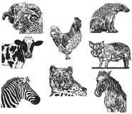 Fastställda vektordiagram för djur royaltyfria foton