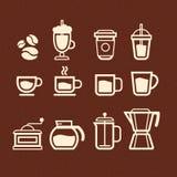 Fastställda kaffe-, tea- och drinksymboler Arkivfoton