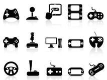Fastställda videospel- och styrspaksymboler royaltyfri illustrationer