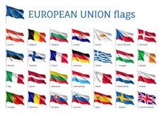 Fastställda vinkande flaggor av EU Royaltyfria Bilder