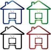 Fastställdt färgrikt hus och TV Arkivfoton