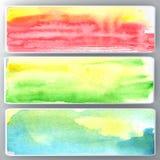 Fastställt abstrakt vattenfärgbaner. Royaltyfria Bilder