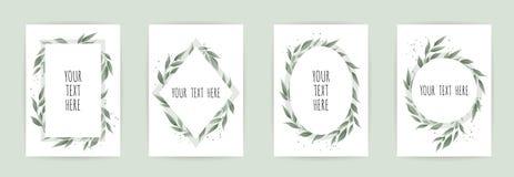 Fastställt botaniskt kort med lösa blommor, sidor Den blom- affischen, inviterar royaltyfri illustrationer