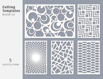 Fastställt dekorativt kort för att klippa Abstrakt geometriskt linjärt vektor illustrationer