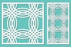 Fastställt dekorativt panellaser-klipp trätappning för bakgrundsteckningspanel stock illustrationer
