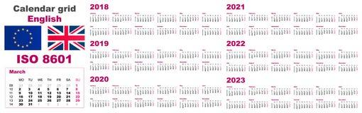 Fastställt engelska för rasterväggkalender för 2018, 2019, 2020, 2021, 2022, 2023, ISO 8601 med veckor royaltyfri illustrationer