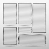 Fastställt genomskinligt minimalistic baner med metallramen Arkivbild