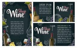 Fastställt horisontal, lodlinje och fyrkantaffischer eller etiketter för vin royaltyfri illustrationer