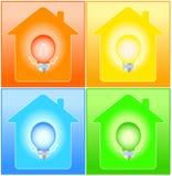 Fastställt hus och kula på bakgrund vektor illustrationer