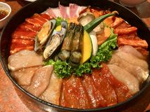 Fastställt kött och skaldjur för galler royaltyfri fotografi