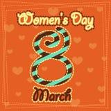 Fastställt kvinnors för mars 8 kort för hälsning för dag 1 Arkivbild