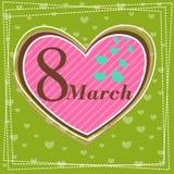 Fastställt kvinnors för mars 8 kort för hälsning för dag 2 Royaltyfri Bild