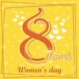 Fastställt kvinnors för mars 8 kort för hälsning för dag 5 Fotografering för Bildbyråer