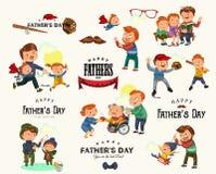 Fastställt lyckligt kort för hälsning för faderdag, farsagyckel med ungar, förälder av små barns familjsemestern, pappaförälskels Arkivbild