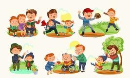 Fastställt lyckligt kort för hälsning för faderdag, farsagyckel med ungar, förälder av små barns familjsemestern, pappaförälskels Arkivfoton
