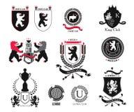 Fastställt märke, sportklubba, studentklubba, heraldisk sköld, kunglig person, hotell, säkerhet, full vektorlogosamling och desig Royaltyfri Bild