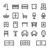 Fastställt möblemang för vektorsymboler för hem- och kontorsinre Arkivfoto