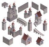 Fastställt medeltida fästningfort royaltyfri illustrationer