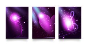 Fastställt mode tänder bakgrunder i moderiktiga uv eller violetfärger Klubba för disko för neon för glöd för nattpartistil Grafis Royaltyfria Bilder