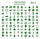Fastställt nummer tre av 100 ekologisymboler - vektor royaltyfri illustrationer