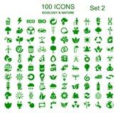 Fastställt nummer två av 100 ekologisymboler - vektor royaltyfri illustrationer