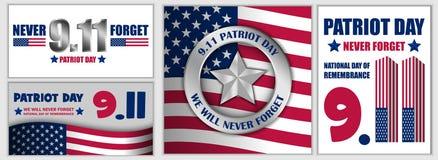 Fastställt patriotdagSeptember 11 baner, plan stil royaltyfri illustrationer