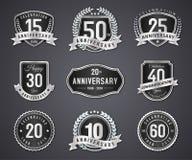 Fastställt silveremblem och etikett av årsdagen stock illustrationer