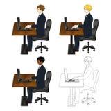 Fastställt stiligt sammanträde för affärsman med bärbara datorn huvuddel full Arkivfoton