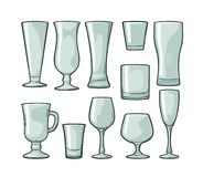 Fastställt tomt glass öl, whisky, vin, gin, rom, tequila, champagne, coctail stock illustrationer
