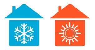 Fastställt värme och förkylning i hem- symbol Arkivfoton