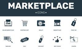 Fastst?lld symbolssamling f?r marknadsplats Inkluderar enkla best?ndsdelar liksom den h?gv?rdiga pl?nboken, prislappen, kupongen, vektor illustrationer