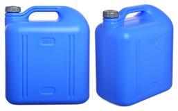 Fastställd blå plast- kanister som isoleras på vit Royaltyfria Bilder