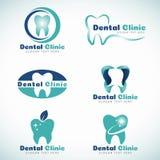 Fastställd design för tand- vektor för kliniklogotecken Fotografering för Bildbyråer