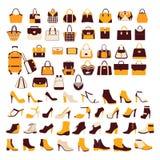 Fastställd kontursamling för vektor av modetillbehör Arkivbild