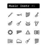 Fastställd linje symboler vektor musikaliska instrument Arkivfoton