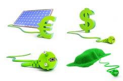Fastställd sol- illustration för grön makt 3D Arkivfoto