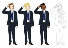 Fastställd stilig affärsman som tänker för att göra beslut Full kroppvektorillustration Royaltyfri Foto