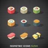 Fastställd sushi för plana isometriska symboler Royaltyfria Bilder